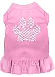 Chevron Paw Screen Print Dress Light Pink XS (8)